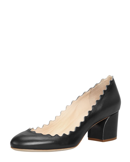 cd8f1ed7b26 Chloe Scalloped Low-Heel Leather Pump