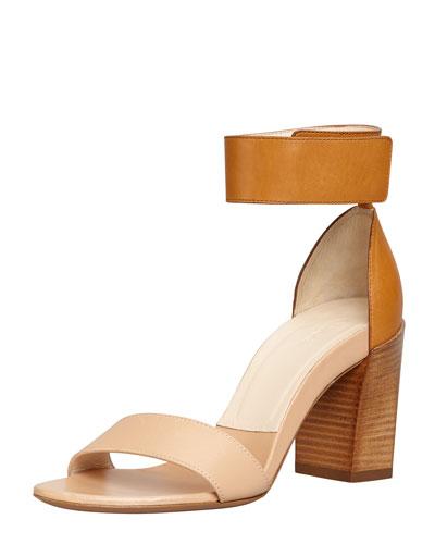 Stacked-Heel Ankle-Wrap Sandal, Teak/Apricot