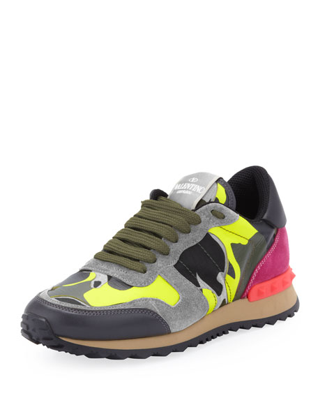6f6fd14779 Valentino Rockstud Camo-Print Sneaker