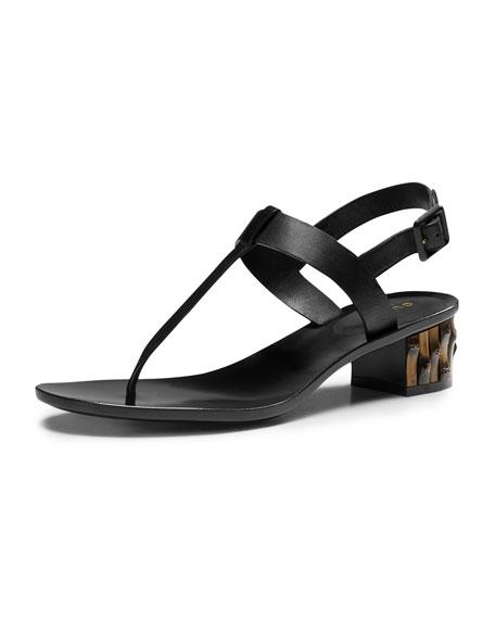 e816072dd23d6 Gucci Dahlia Bamboo-Heel Leather Thong Sandal