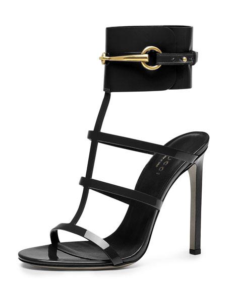 c31fe92fd200 Gucci Ursula Patent Ankle-Wrap Cage Sandal
