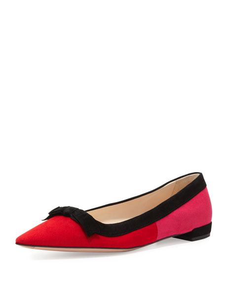 6d59494db Prada Suede Tricolor Pointed-Toe Ballet Flat with Bow, Red/Pink
