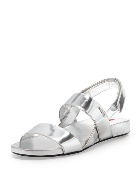bca7bed62070 Prada Metallic Double-Band Flat Sandal