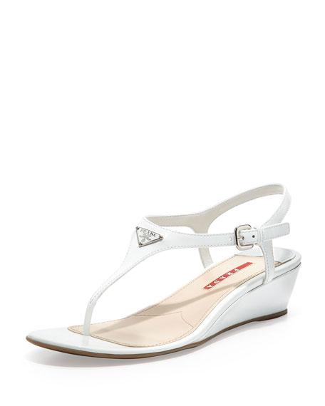 017360f0050 Prada Linea Rossa Patent Demi-Wedge Thong Sandal