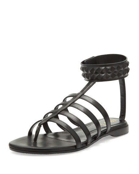 afee97daf16f2f Fendi Studded Leather Cage Sandal
