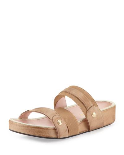Amari Triple-Strap Stretch Sandal, Nocciola