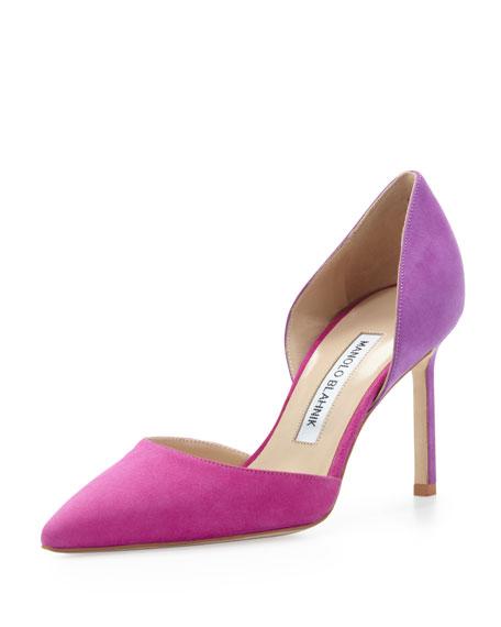manolo blahnik tayler bicolor suede d orsay fuchsia purple rh neimanmarcus com