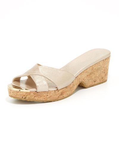 Panna Metallic Crisscross Slide Sandal, Champange