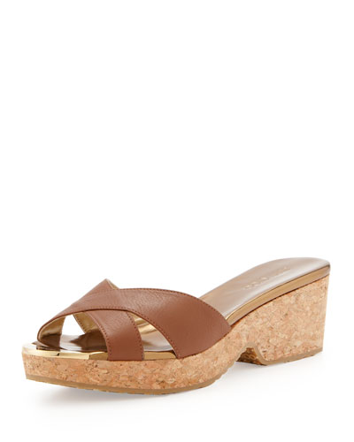 Panna Leather Crisscross Slide Sandal, Brown