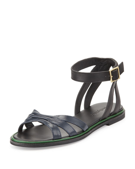 ec1765a6bed See by Chloe Two-Tone Leather Flat Sandal