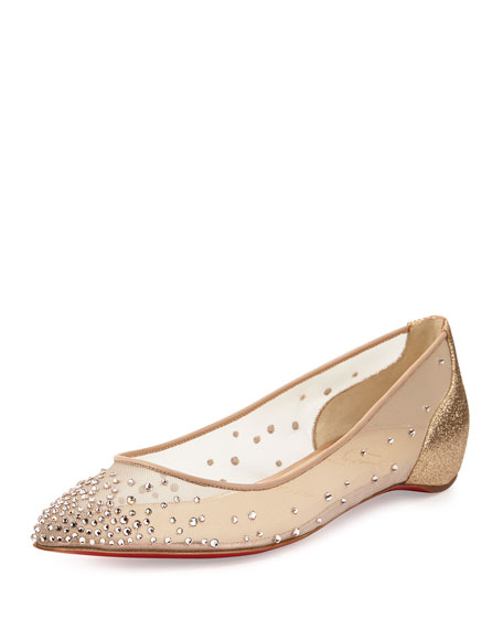 Christian Louboutin Strass Pointed-Toe Flats discount deals clearance best seller Kkj96