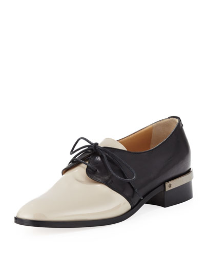 Bicolor Lace-Up Oxford, Nude/Black