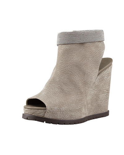 Nubuck Beaded-Ankle Wedge, Gray