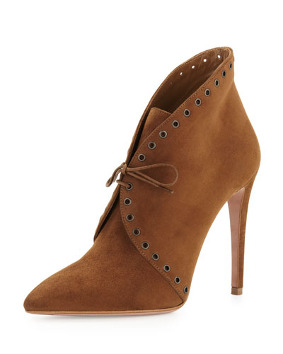 Eyelet Suede Lace-Up Bootie, Brown