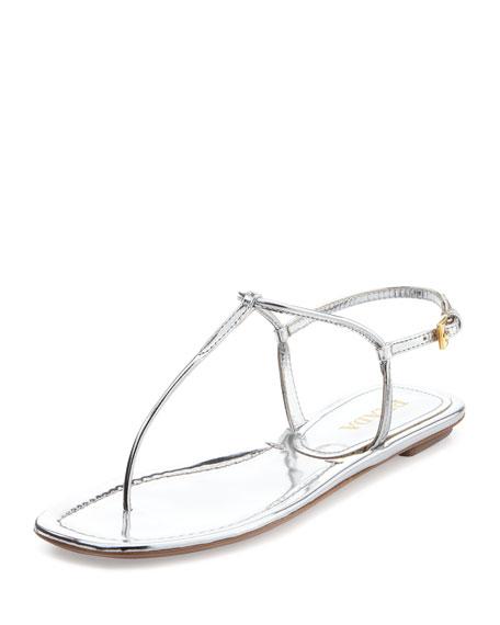 a099f817c Prada Metallic Flat Thong Sandal