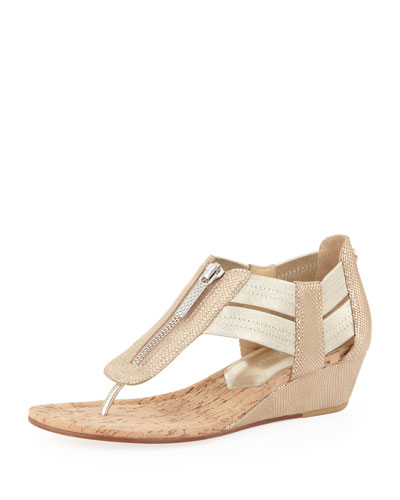 Dori Metallic Demi-Wedge Sandal, Natural/Platino