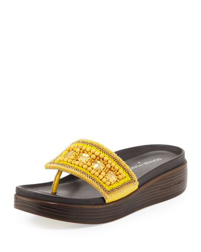 Fifi Beaded Platform Sandal, Lemon