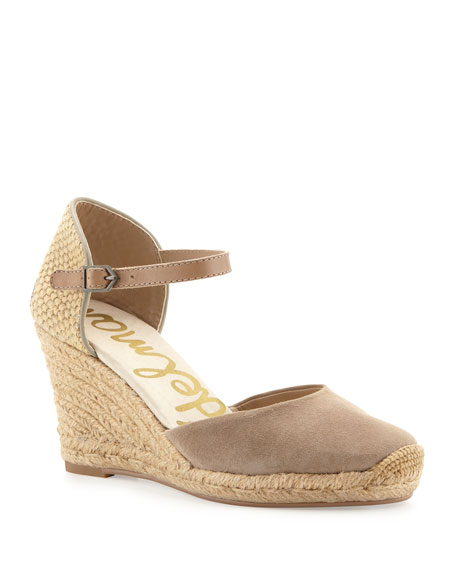 Harmony Suede Espadrille Wedge, Putty