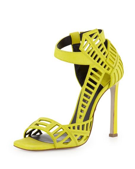 Toe Cutout Square Mahima Lime Sandal 54ARjq3L