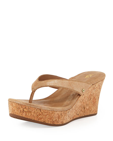 8ca3647c1bb Natassia Cork Thong Wedge Sandal Gold Washed