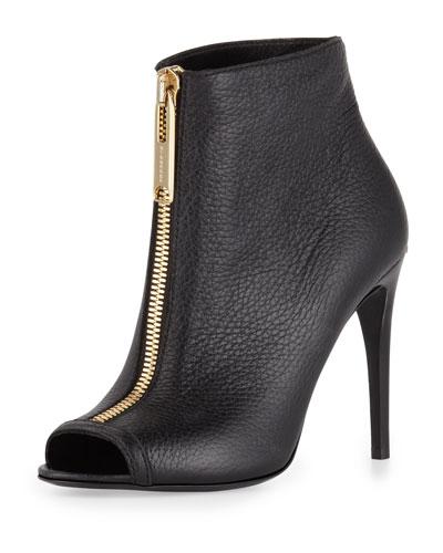 Zip-Front Peep-Toe Leather Bootie, Black