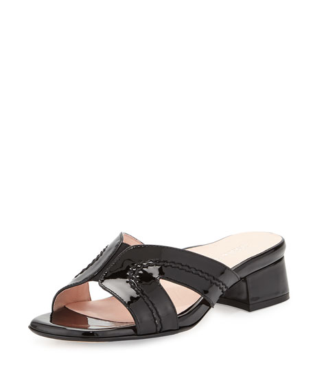 Taryn Rose Patent Leather Slide Sandals sale supply clearance prices A7mfV18bMY