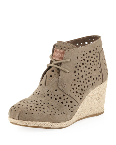 f58aba37153 TOMS Moroccan Cutout Suede Wedge Boot