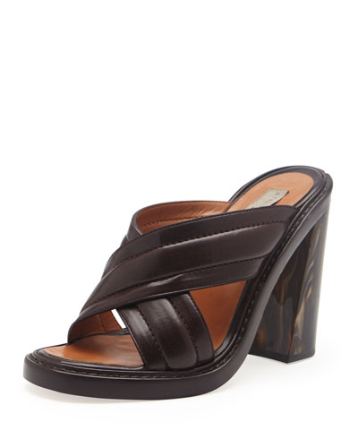Faux-Leather Veneer-Heel Crisscross Slide, Oak