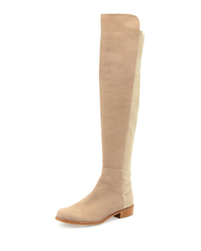 50/50 Wide Nubuck To-the-Knee Boot, Tan