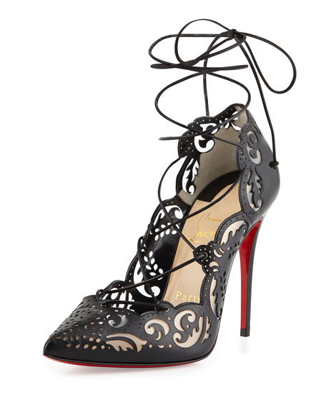 bb068fe9f9cb Christian Louboutin Impera Lace-Up Laser-Cut Red Sole Pump