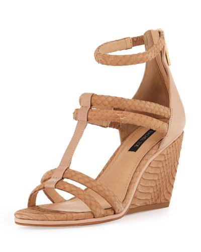 Nancy Snakeskin Wedge Sandal, Natural