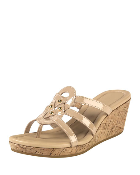 4b5baf9296a Cole Haan Shayla Patent Thong Wedge Sandal