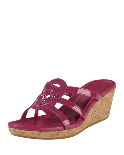 Shayla Patent Thong Wedge Sandal, Raspberry