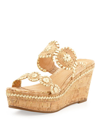 Leigh Double-Strap Wedge Sandal, Gold/Cork