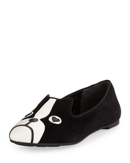 c6a2fe1933 MARC by Marc Jacobs Shorty Suede Dog-Face Smoking Slipper, Black