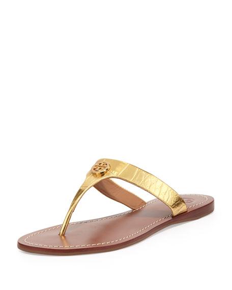 3c01bb291 Tory Burch Cameron Croc-Embossed Thong Sandal