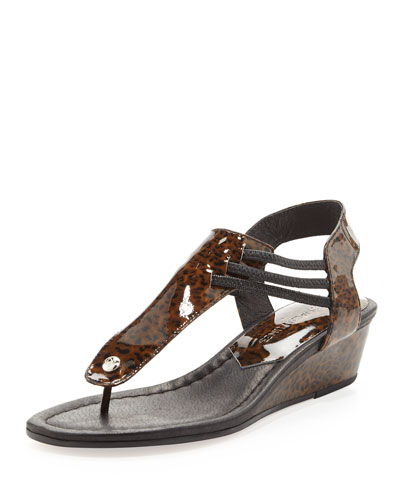 Dove Stretchy Leopard-Print Demi-Wedge