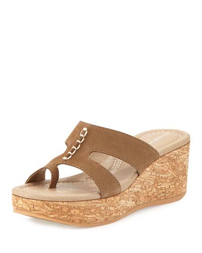 Shelee Nubuck Wedge Sandal, Taupe