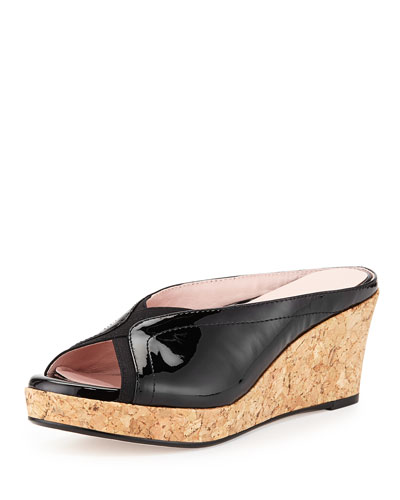 Selinda Cork-Wedge Leather Slide Sandal, Black
