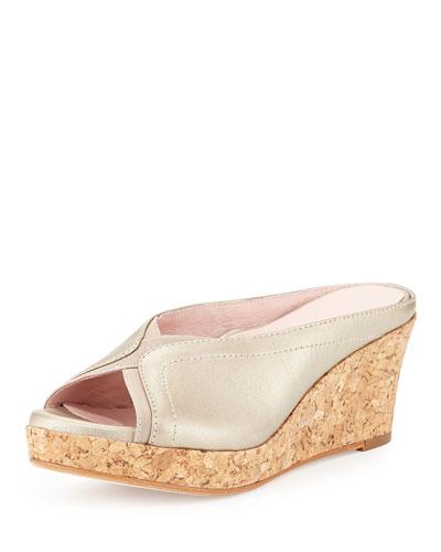 Selinda Cork-Wedge Leather Slide Sandal, Soft Gold