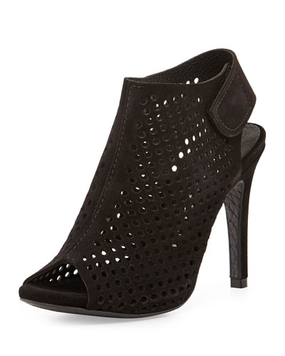 Sofia Perforated Suede Peep-Toe Bootie, Black