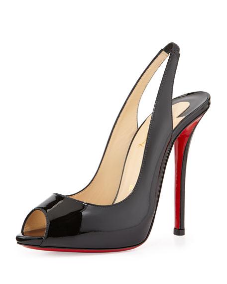 info pour a2d59 81f94 Gamma Talon Patent Red Sole Slingback Sandal Black