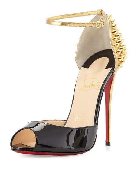 reputable site 5bdf7 c9583 Pina Spike Red Sole Sandal Black/Gold