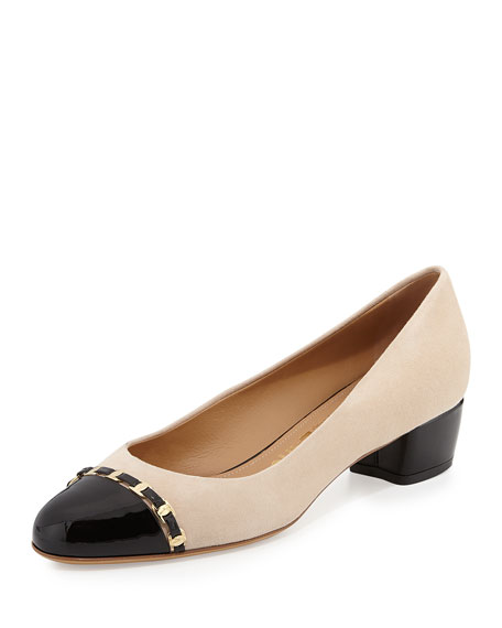 Salvatore Ferragamo Round-Toe Embossed Leather-Trimmed Pumps clearance 2014 newest gvFsFIgwP