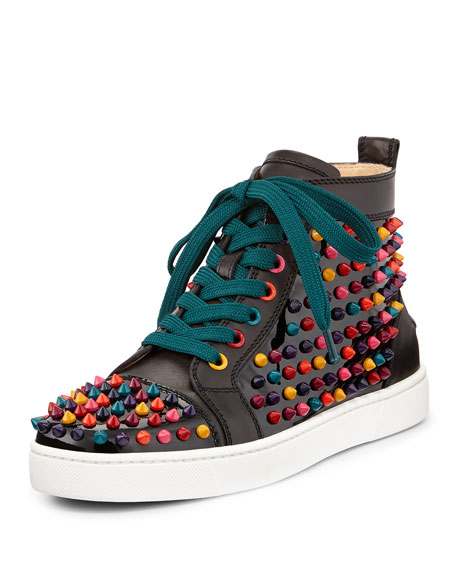 78da5a485ddf Christian Louboutin Louis Spikes Calfskin High-Top Sneaker