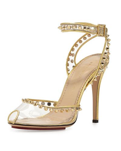 Soho Studded PVC Ankle-Wrap Sandal