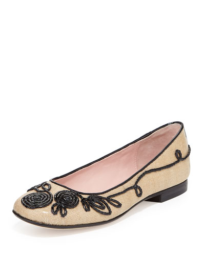 Bubka Embroidered Ballerina Flat, Natural/Black
