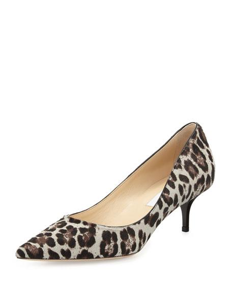 3cbaebffce4 Jimmy Choo Aza Low-Heel Leopard-Print Calf Hair Pump