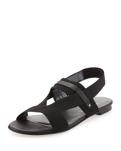 Here to Stay Stretch-Strap Sandal, Black