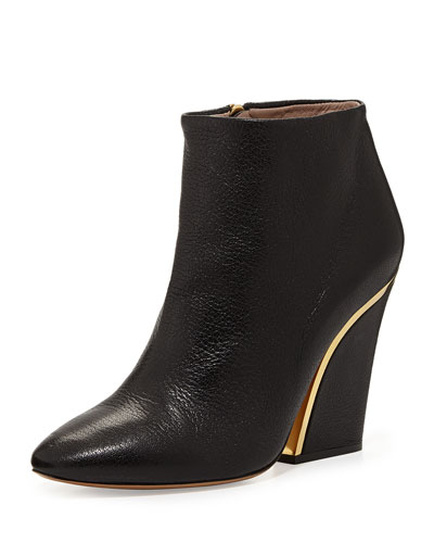 Curved-Heel Leather Ankle Bootie, Black